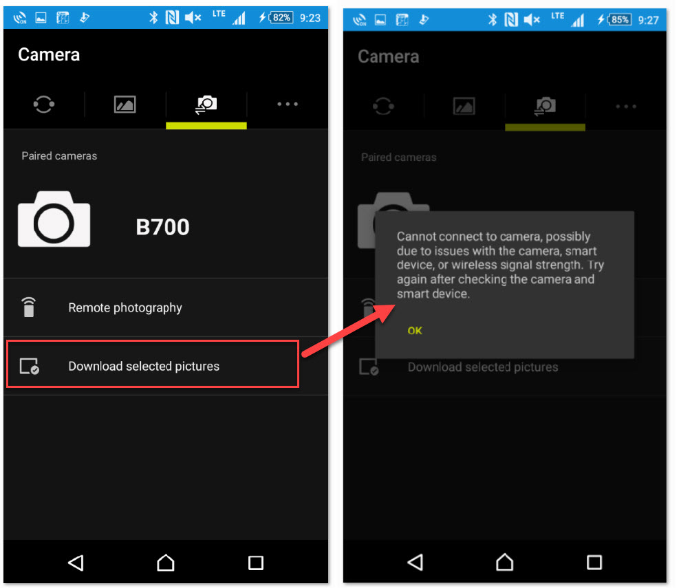 COOLPIX A900 and B700 – Cannot connect to camera when